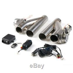 2×2.5 63mm Electric Exhaust Valve Cutout Downpipe System Y Pipe With Remote Kit