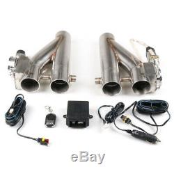 2×3 inch 76mm Exhaust Control E-Cut Out Dual Valve Electric Y Pipe with Remote