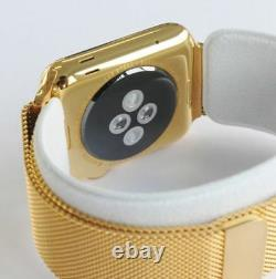 24K Gold 42MM Apple Watch Stainless Steel Gold Plated Gold Milanese Loop CUSTOM
