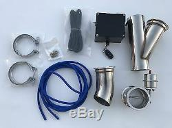3 EXHAUST CUTOUT E-CUT OUT VALVE VACUUM VALVE SYSTEM KIT & REMOTE 3 inch turbo