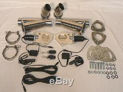 3 Electric Exhaust Cutout Kit With 2X Remotes Stainless Steel With Down Pipes