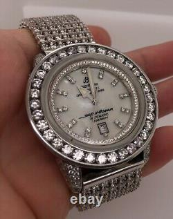 BREITLING SUPEROCEAN ALL DIAMOND CUSTOM GOLD BAND WATCH OVER 20ct