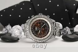 Breitling for Bentley Motors A25362 Bronze Dial SS Iced Out Diamond 48mm Watch