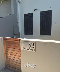 CUSTOM Stainless Steel house street number SIGN Plaque Black Backing 450 x 250