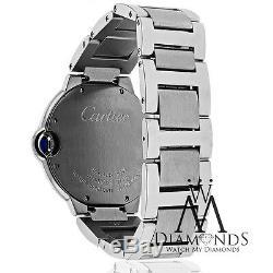 Cartier Ballon Bleu W69011Z4 Watch Pave Diamond Bezel Box&Papers 37mm MidSize