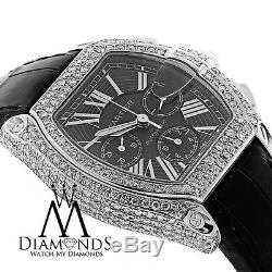 Cartier Roadster W62020X6 XL Chronograph Diamond Case Black Dial on Black Strap