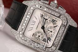 Cartier Santos 100 Chronograph W20090X8 42mm Men's Stainless Steel 17ctw Watch