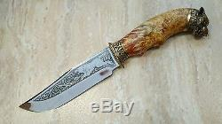 Coob Unique Custom Handmade Knife Knives Russian Maple Burl Hunting Wolf +sheath