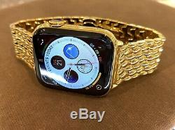 Custom 44mm Apple Watch Series 4 Stainless Steel 24K Gold Plated GPS+LTE