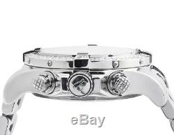 Custom Breitling A13370 Super Avenger White Dial S. Steel with Diamonds (4.5 Ct)