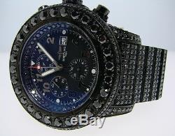 Custom Breitling Super Avenger Black On Black Diamond Watch 42 Ct