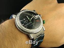Custom Mens 6.0Ct Diamond 101G Gucci Ya101331 Black Pvd Watch