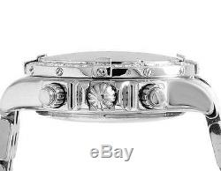 Custom Mens Breitling A13356 Evolution Chronomat 44MM White Diamond Watch 3.0 Ct