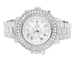 Custom Mens Breitling A13370 Super Avenger XL 53MM S. Steel with Diamonds 20 Ct
