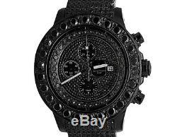 Custom Mens Breitling A13370 Super Avenger XL PVD Steel Black Diamond Watch 35Ct