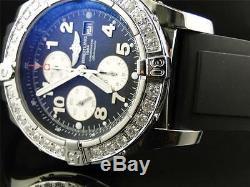 Custom Mens Breitling Super Avenger Aeromarine 48MM Rubber Genuine Diamond Watch