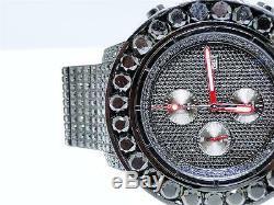 Custom Mens Breitling Super Avenger Aeromarine 58MM Black Diamond Watch 66 Ct