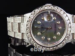 Custom Mens Rolex 36 MM Datejust Oyster Stainless Steel Diamond Watch 12.0 Ct