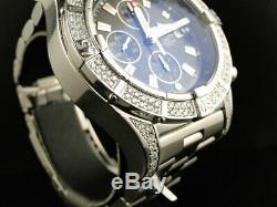 Custom Mens XL Breitling Black Dial Genuine Diamond S. Steel Band Watch 2.5 Ct