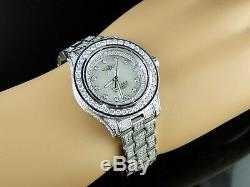 Custom New Ladies Breitling Aeromarine White Colt Ocean Full Diamond Watch 15 Ct