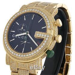 Custom Real Diamond Gucci Watch Ya101331 Mens 101G Yellow Steel PVD 44mm 9 CT