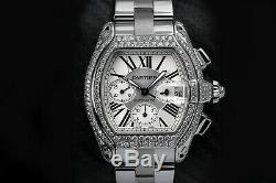 Diamond Cartier Roadster XL W62020X6 Chronograph White SS Automatic Watch