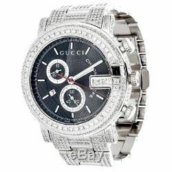 Diamond Gucci 44mm Case YA101309 Watch 9.50 Ct New Custom Mens 101 G Real White