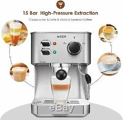 Espresso Machine Cappuccino Coffee Maker with Milk Steamer Frother 15 Bar @@