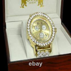 Genuine Diamond 18k Gold Tone Finish Big Stone Custom Bezel XL Men's Band Watch