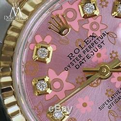 Ladies Rolex 18K & SS 26mm Peach Flower Datejust Diamond Numbers Ladies Watch