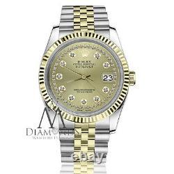Ladies Rolex 26mm Datejust Champagne Diamond 18K Gold & SS Jubilee