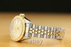 Ladies Rolex Datejust Champagne Diamond 18k Yellow Gold/stainless Steel Watch