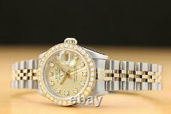 Ladies Rolex Datejust Factory Diamond Dial 18k Yellow Gold Stainless Steel Watch