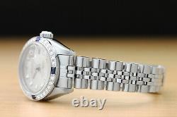 Ladies Rolex Datejust Silver Dial 18k White Gold Sapphire Diamond & Steel Watch