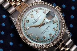 Ladies Rolex Steel & Gold 36mm Datejust Ice Blue String Diamond Dial Watch