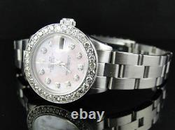 Ladies Stainless Steel Rolex Datejust Oyster Watch 2.5 Ct Diamond Pink MOP Dial