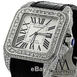 Luxury Diamond Cartier Santos 100 Automatic Watch Larger 10ct Natural Diamond