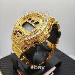Men Iced Lab Diamond Authentic DW6900 Gold Brass Custom G Shock Bust Down Watch