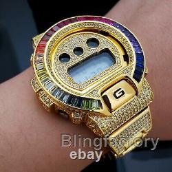 Men Iced Simulated Diamond Authentic DW6900 Gold Brass Custom G Shock Watch