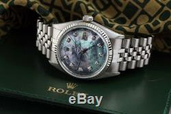 Men's Rolex 36mm 18K & SS Datejust Tahitian MOP Mother of Pearl Diamond Watch