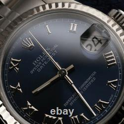 Men's Rolex 36mm Stainless Steel Datejust Navy Blue Roman Numeral Dial Watch