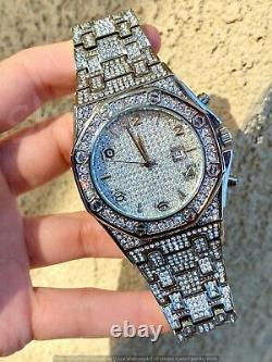 Mens Custom Fully Ice out Bling Octagonal Watch Iced Cz Quality Stainless Steel