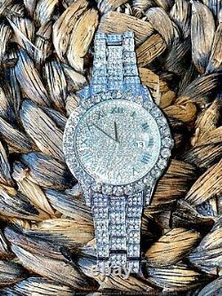 Mens Custom Fully Ice out Bling Round Icy Watch Iced Cz Quality Stainless Steel