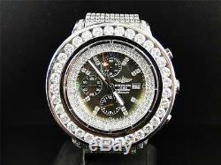 Mens Custom XL 55.20 Ct Breitling Super Avenger Aeromarine Diamond Watch
