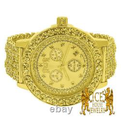 Mens Gold Canary Solitaire Real Diamond Custom Steel Bezel Khronos Band Watch