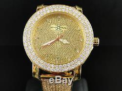 Mens Khronos yellow finish Simulated Diamond 2 row custom watch band bezel