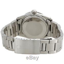 Mens Rolex 36mm DateJust Diamond Watch Oyster Steel Band Custom Black Dial 2 CT