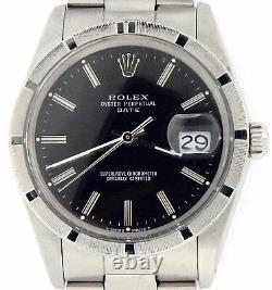 Mens Rolex Date Stainless Steel Watch Oyster Band Black Dial Engine-Turned 15010