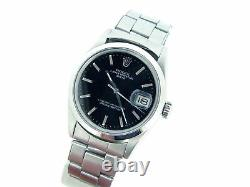 Mens Rolex Date Stainless Steel Watch Oyster Rivet Band Black Dial Domed 1500