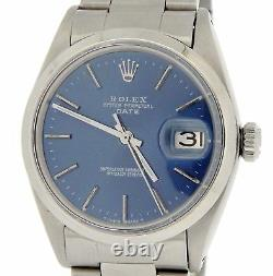 Mens Rolex Date Stainless Steel Watch Oyster Style Bracelet Blue Dial Domed 1500